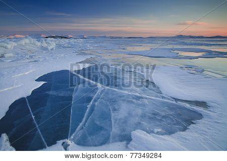 Beautiful Sunset On Icy Lake Baikal