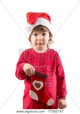 Funny Little Child Holding Empty Christmas Sock