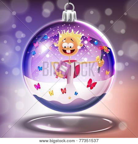 Crystal Glass Crystal Ball With Small Boy In Vector
