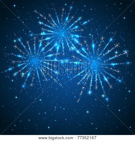Fireworks On Blue Background