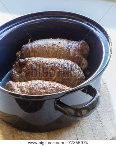 Roulade Of Beef In Pan With Sauce