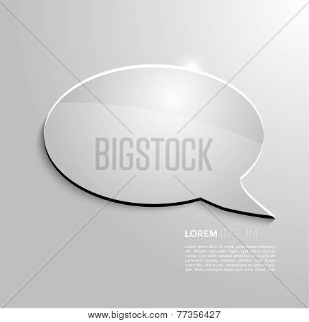 Shining speech bubble on gray background.