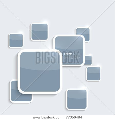 Blue plastic shiny, glossy boxes on gray background