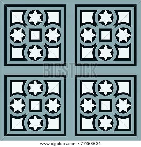 Seamless vintage ornamental tile set square in blue