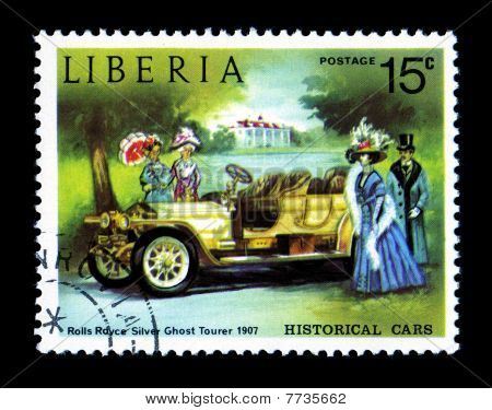Historical Antique Auto Postage Stamp Liberian