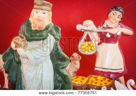 Antique Nativity Scene Figures