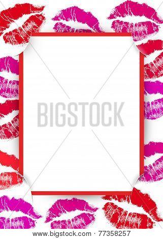 lipstick kiss valentine frame