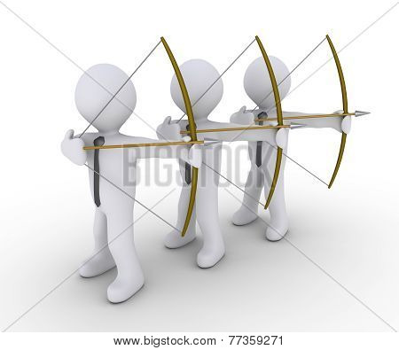 Three Businessmen Aiming At Same Target