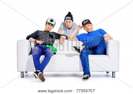 Three guys friends spend time together. Different emotions. Isolated over white.