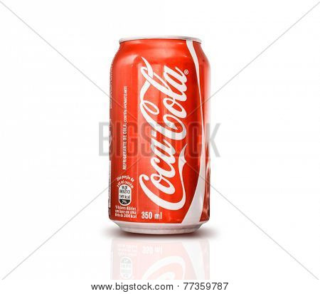 SAO PAULO, BRAZIL - CIRCA NOV 2014: 350ml Coca Cola Bottle Can on white background.