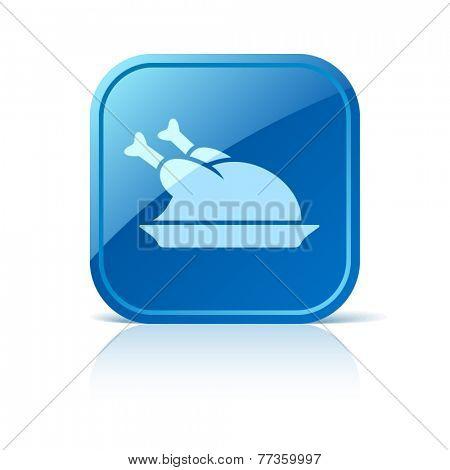 Chicken icon on blue web button