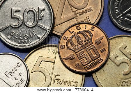 Coins of Belgium. Belgian crown depicted on the Belgian 50 centimes coin.