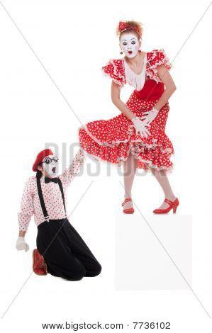 Amazed Man Looking Under Womans Dress