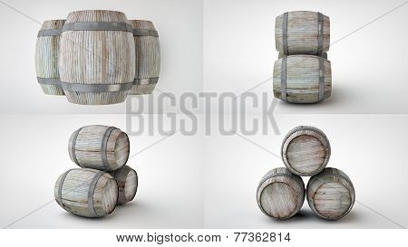 3d render of the beer barrels in four projections