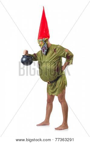 Scary monster with pot of meals isolated on white