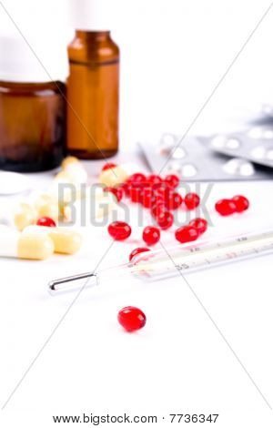 Thermometer And Pills
