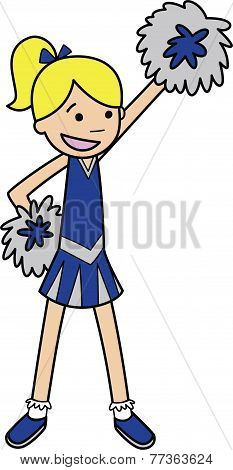 Young Cheerleader with Pom Poms