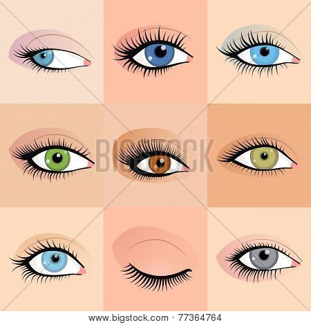 Set of female eyes images with beautifully fashion make up. Vector