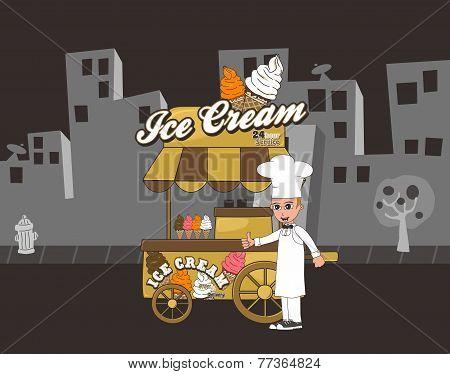 ice cream food cart vendor theme