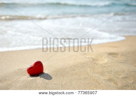 Red Heart On Sea Beach - Love Relax Concept