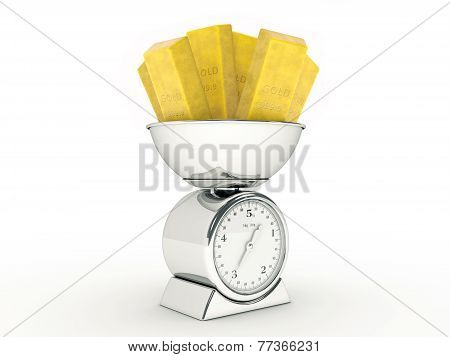 Kitchen scale with gold bullion
