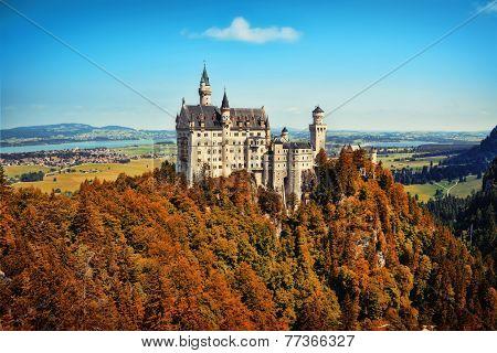 Panoramic autumn view of Neuschwanstein castle
