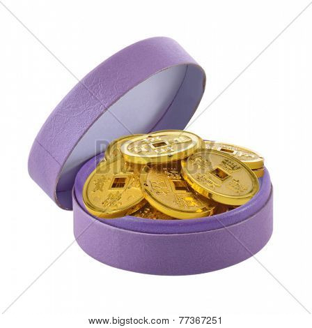 Gift Box Filled with Gold Coin