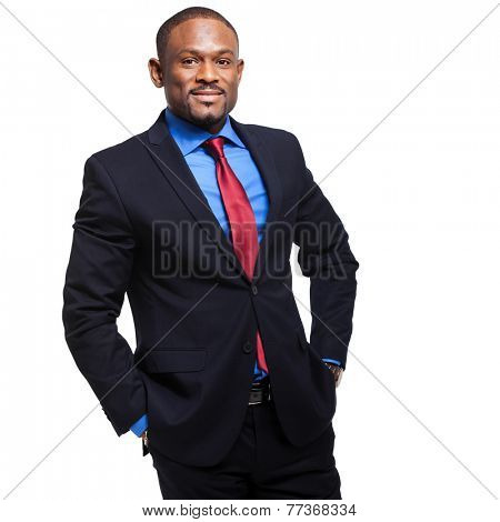 Confident african businessman isolated on white