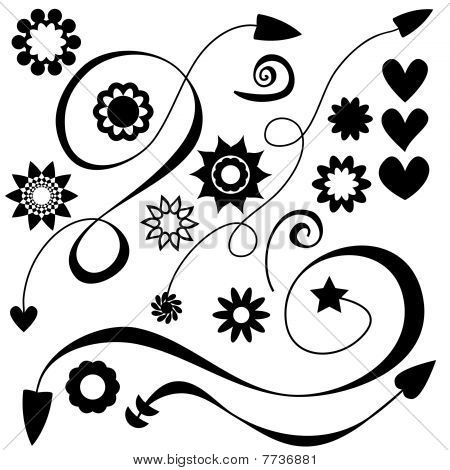 Vector Arrows, flowers and hearts