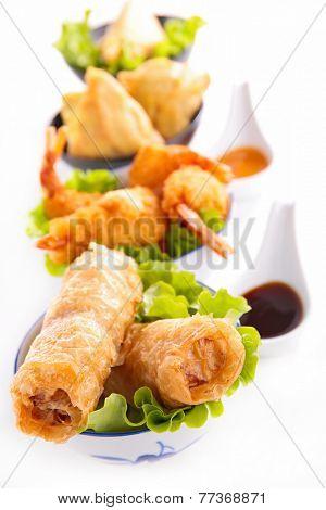 asian cuisine, spring roll, samosa and fritter shrimp