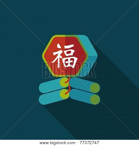Chinese New Year Flat Icon, Eps10, Word Fu, Chinese Festival Couplets With Firecrackers Means