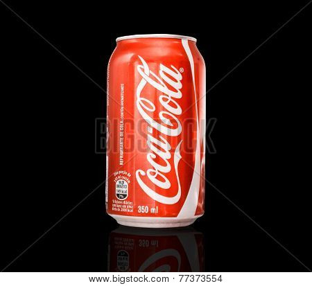 SAO PAULO, BRAZIL - CIRCA NOV 2014: 350ml Coca Cola Bottle Can on black background.