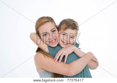 Brother Hugs His Sister With Love
