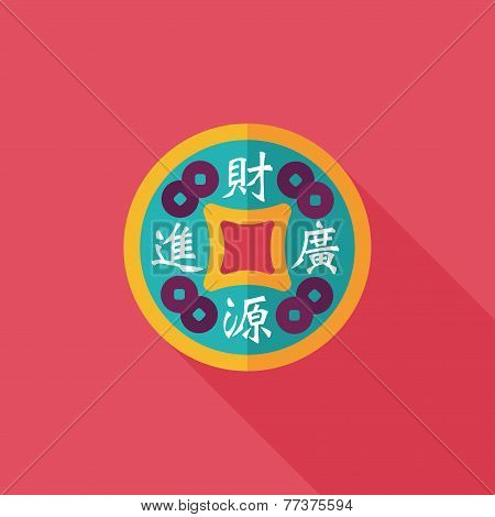 Chinese New Year Flat Icon With Long Shadow,eps10, Gold Ingot Means