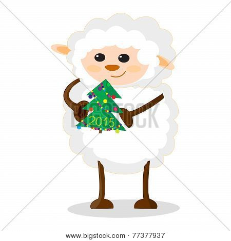 Illustration of sheep with Christmas tree