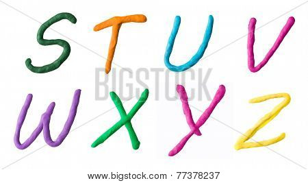 set of letters from plasticine isolated on white background
