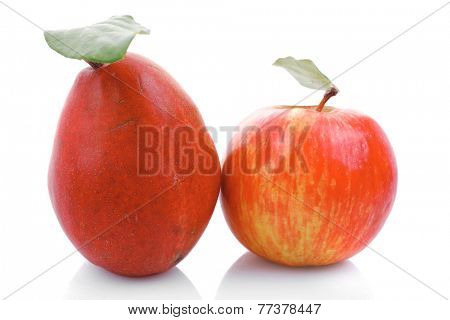 red pear and apple isolated over white background