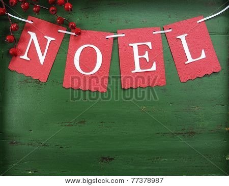 Christmas Holiday Background With Red, White, Festive Noel Bunting Letters Against A Vintage Style D
