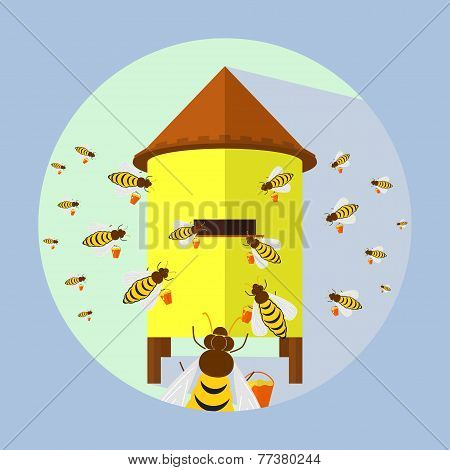 Illustration Of Bees And Hive