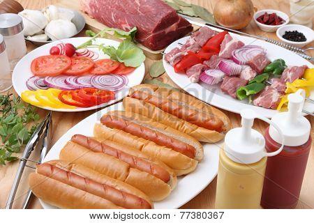 Barbecue and hotdogs
