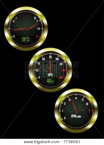 a set of three car dials