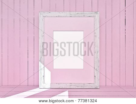 White Canvas On Wooden Plank Pink Background