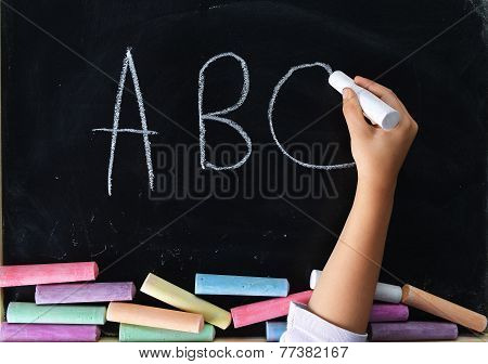 Hand Of Child Writing