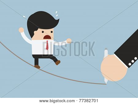 Businessman Walking On Rope And Hand With Pen Drawing Future Path