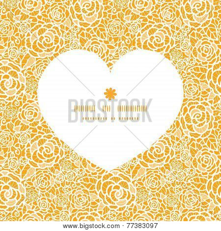 Vector golden lace roses heart silhouette pattern frame