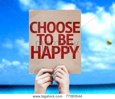 Choose To Be Happy card with a beach on background