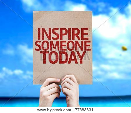 Inspire Someone Today card with a beach on background