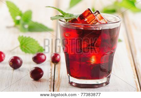 Cranberry Drink  On   A Wooden Background.