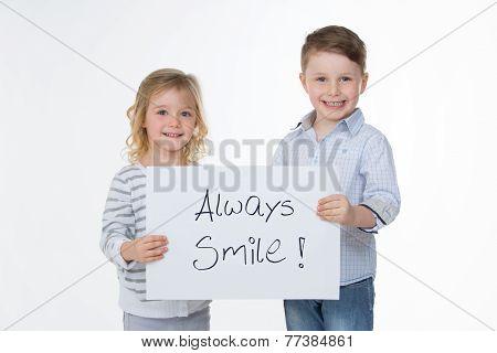 Happy Children On White Background