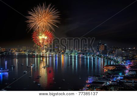 Fireworks New Year Celebration At Pattaya Beach